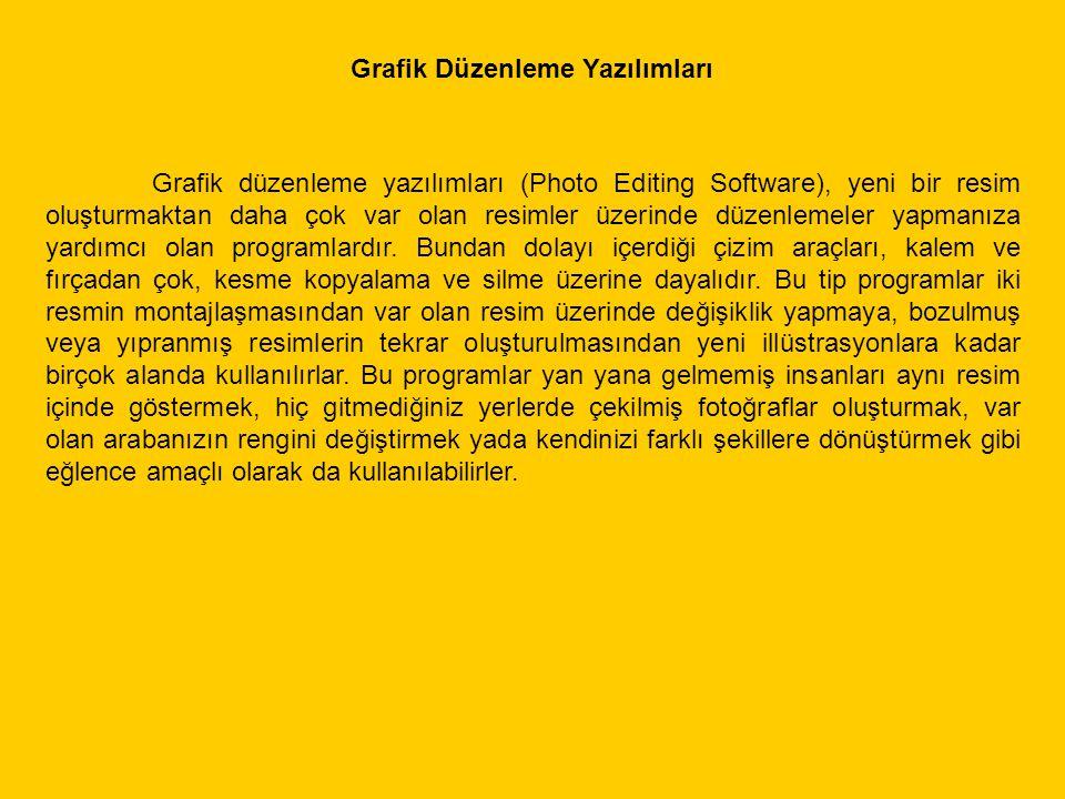 Grafik düzenleme yazılımları (Photo Editing Software), yeni bir resim oluşturmaktan daha çok var olan resimler üzerinde düzenlemeler yapmanıza yardımc