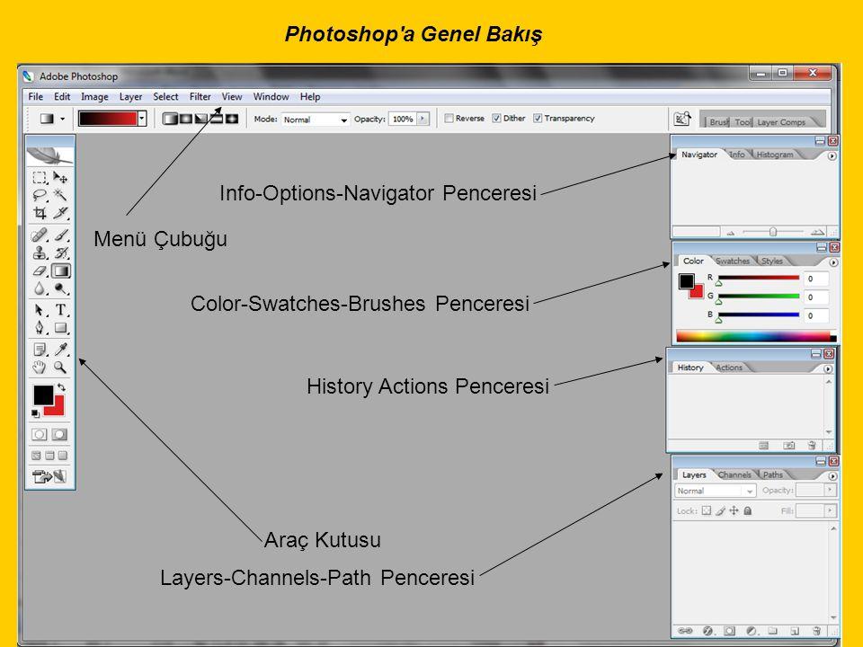 Photoshop'a Genel Bakış Araç Kutusu Menü Çubuğu Info-Options-Navigator Penceresi Layers-Channels-Path Penceresi Color-Swatches-Brushes Penceresi Histo