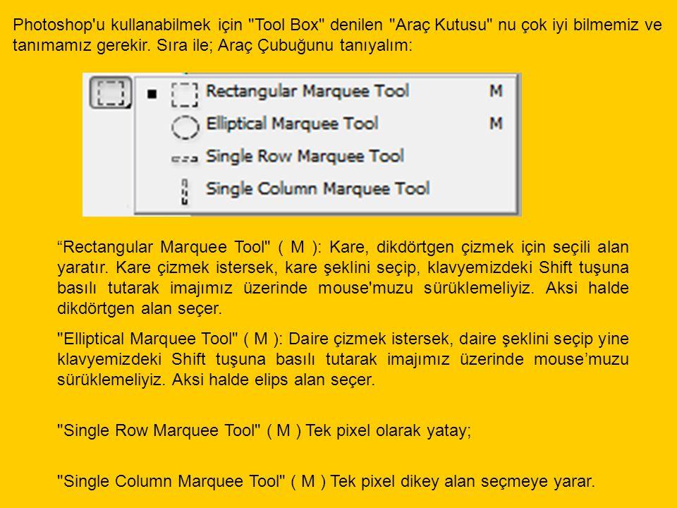 Move Tool ( V ) Seçilen bir alanı veya Layer (Katman) ı taşımanıza yarar.