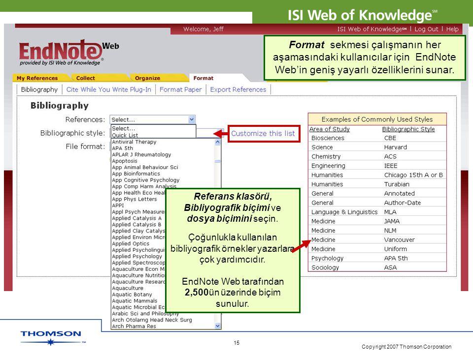 Copyright 2007 Thomson Corporation 15 Format sekmesi çalışmanın her aşamasındaki kullanıcılar için EndNote Web'in geniş yayarlı özelliklerini sunar. R