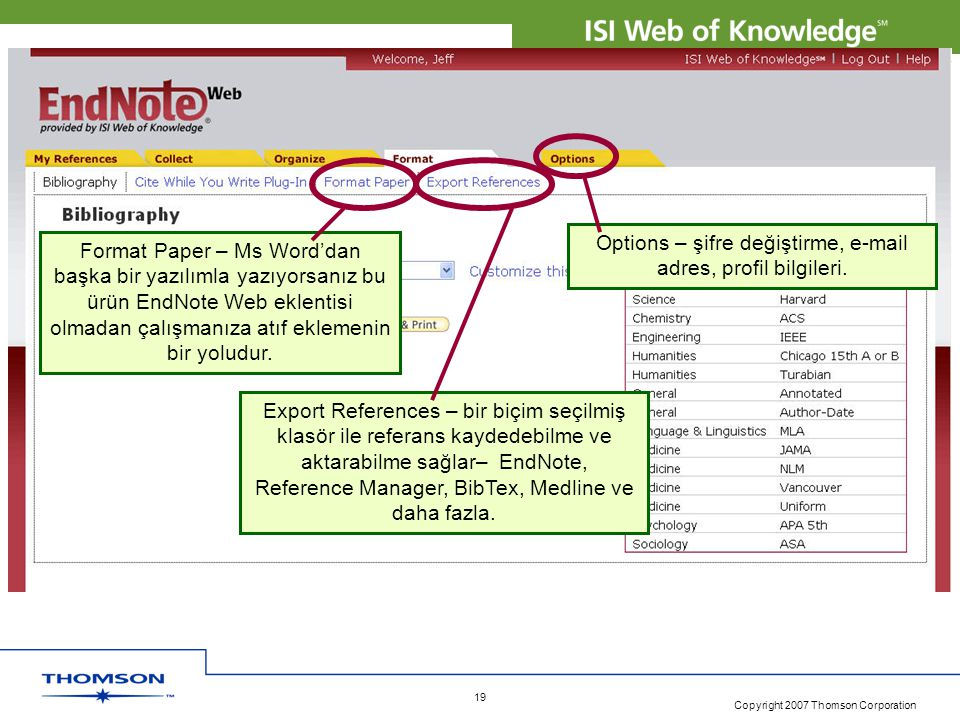 Copyright 2007 Thomson Corporation 20 EndNote Web • ISI Web of Knowledge 4.0 'ın yaralı bir bileşenidir.