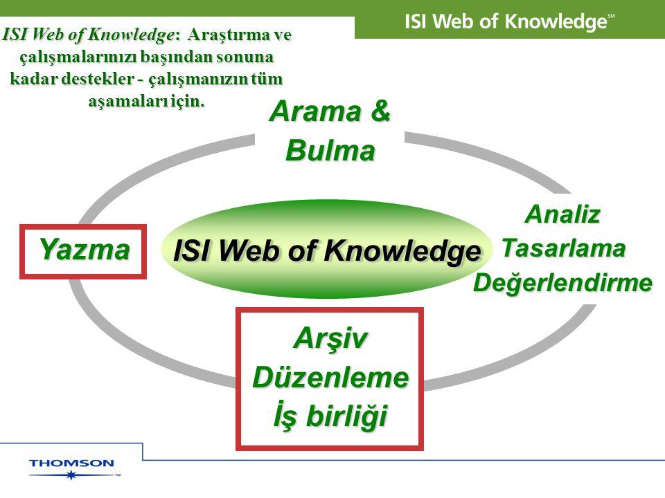 Quality Arama & Bulma ISI Web of Knowledge: Araştırma ve çalışmalarınızı başından sonuna kadar destekler - çalışmanızın tüm aşamaları için. Yazma Anal
