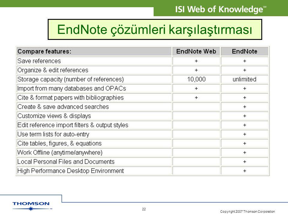 Copyright 2007 Thomson Corporation 22 EndNote çözümleri karşılaştırması