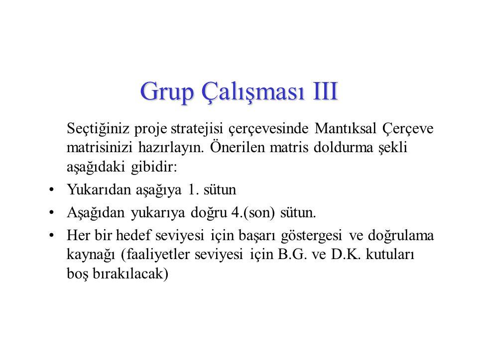 Grup Çalışması III Seçtiğiniz proje stratejisi çerçevesinde Mantıksal Çerçeve matrisinizi hazırlayın. Önerilen matris doldurma şekli aşağıdaki gibidir