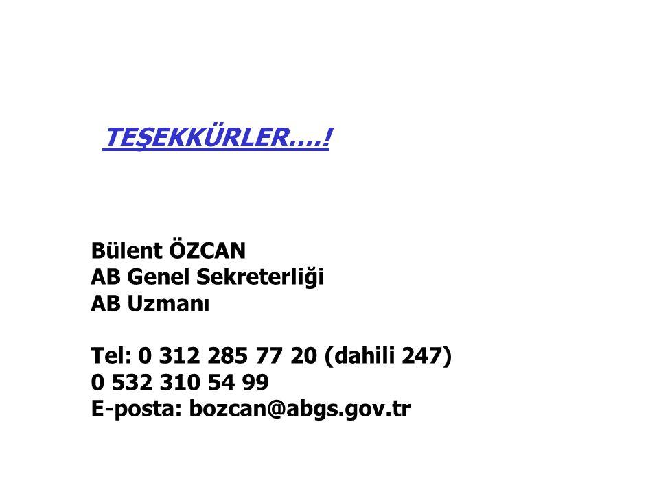 Bülent ÖZCAN AB Genel Sekreterliği AB Uzmanı Tel: 0 312 285 77 20 (dahili 247) 0 532 310 54 99 E-posta: bozcan@abgs.gov.tr TEŞEKKÜRLER….!