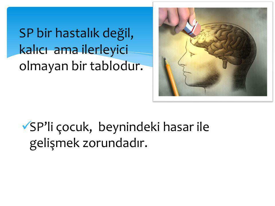  SP'li çocuk, beynindeki hasar ile gelişmek zorundadır.