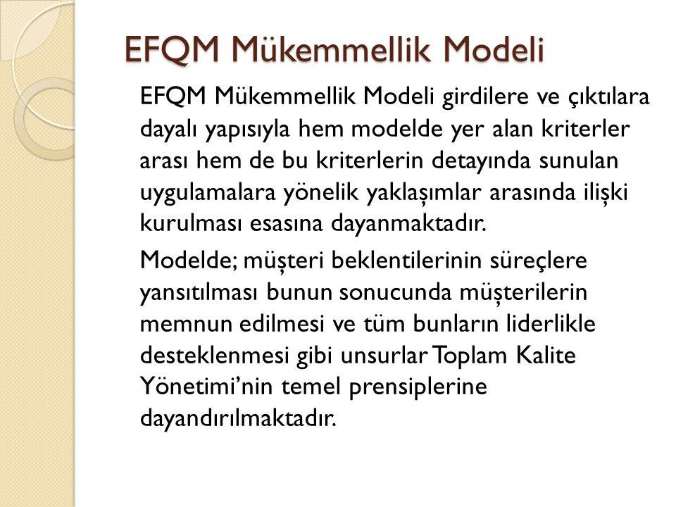 EFQM Mükemmellik Modeli girdilere ve çıktılara dayalı yapısıyla hem modelde yer alan kriterler arası hem de bu kriterlerin detayında sunulan uygulamal