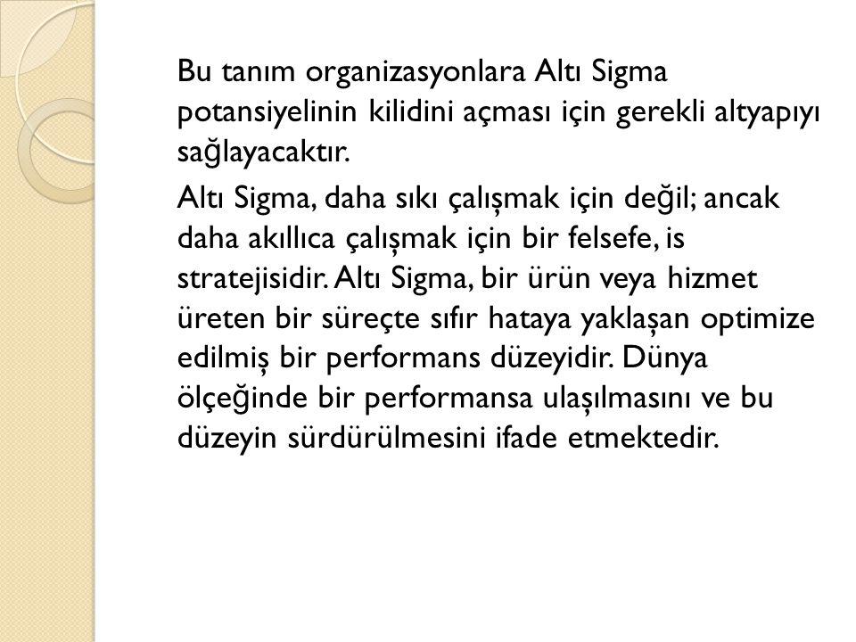 Bu tanım organizasyonlara Altı Sigma potansiyelinin kilidini açması için gerekli altyapıyı sa ğ layacaktır. Altı Sigma, daha sıkı çalışmak için de ğ i