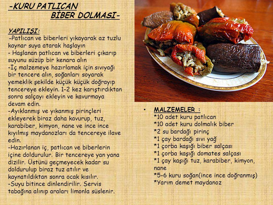 -KURU PATLICAN BİBER DOLMASI- YAPILIŞI: -Patlıcan ve biberleri yıkayarak az tuzlu kaynar suya atarak haşlayın - Haşlanan patlıcan ve biberleri çıkarıp