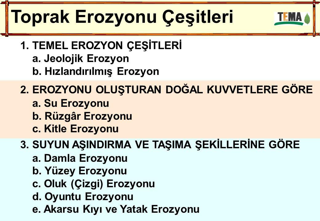Toprak Erozyonu Çeşitleri 1. TEMEL EROZYON ÇEŞİTLERİ a. Jeolojik Erozyon b. Hızlandırılmış Erozyon 2. EROZYONU OLUŞTURAN DOĞAL KUVVETLERE GÖRE a. Su E