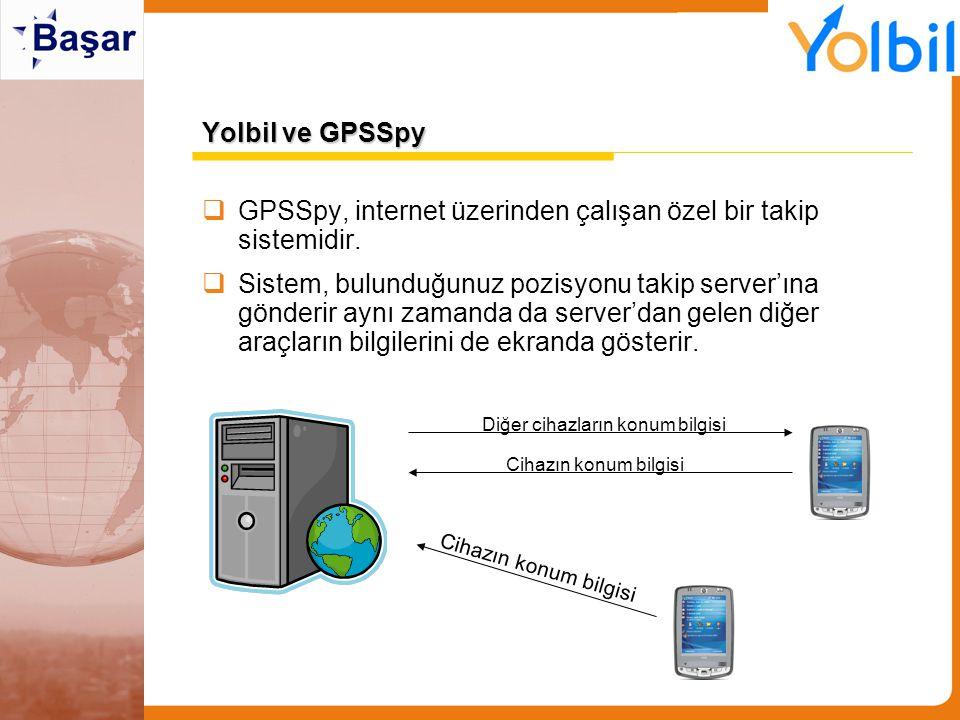 Yolbil ve GPSSpy  GPSSpy, internet üzerinden çalışan özel bir takip sistemidir.  Sistem, bulunduğunuz pozisyonu takip server'ına gönderir aynı zaman