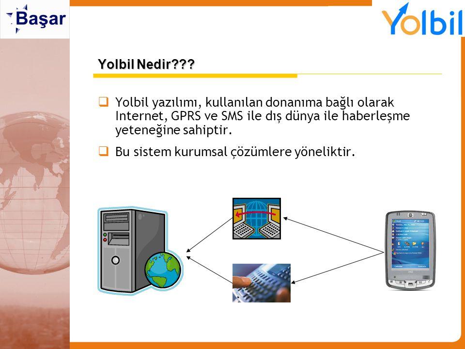  Yolbil yazılımı, kullanılan donanıma bağlı olarak Internet, GPRS ve SMS ile dış dünya ile haberleşme yeteneğine sahiptir.  Bu sistem kurumsal çözüm