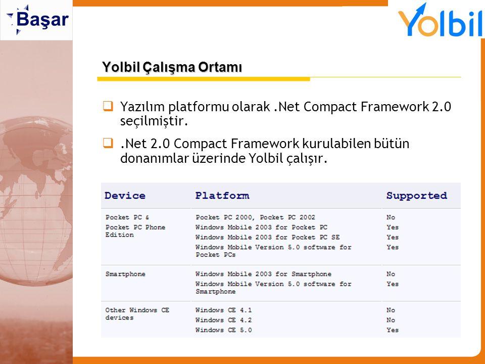 Yolbil Çalışma Ortamı  Yazılım platformu olarak.Net Compact Framework 2.0 seçilmiştir. .Net 2.0 Compact Framework kurulabilen bütün donanımlar üzeri