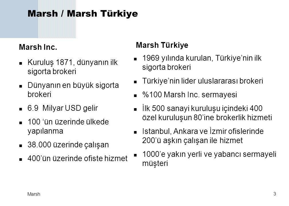 3 Marsh Marsh / Marsh Türkiye  1969 yılında kurulan, Türkiye'nin ilk sigorta brokeri  Türkiye'nin lider uluslararası brokeri  %100 Marsh Inc. serma