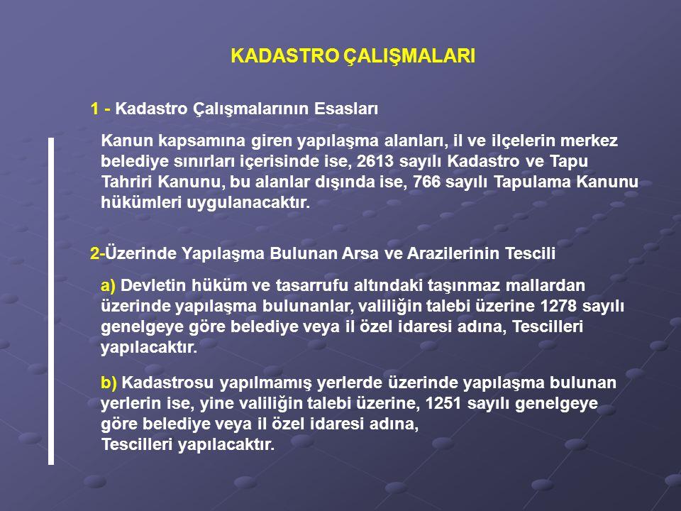 1 - Kadastro Çalışmalarının Esasları Kanun kapsamına giren yapılaşma alanları, il ve ilçelerin merkez belediye sınırları içerisinde ise, 2613 sayılı K