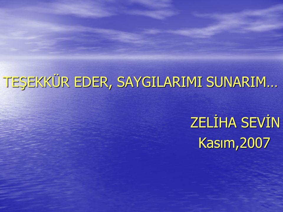 TEŞEKKÜR EDER, SAYGILARIMI SUNARIM… ZELİHA SEVİN Kasım,2007 Kasım,2007