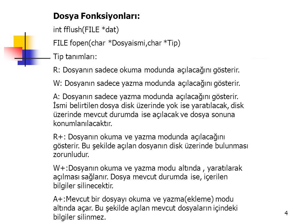 4 Dosya Fonksiyonları: int fflush(FILE *dat) FILE fopen(char *Dosyaismi,char *Tip) Tip tanımları: R: Dosyanın sadece okuma modunda açılacağını gösteri