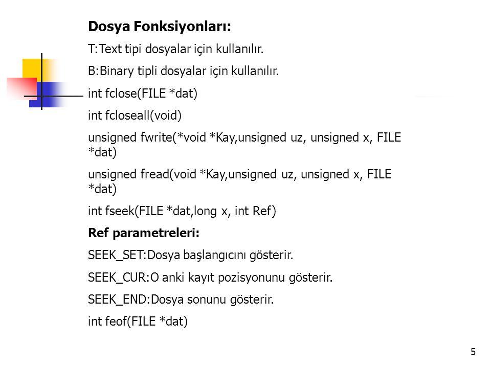 5 Dosya Fonksiyonları: T:Text tipi dosyalar için kullanılır. B:Binary tipli dosyalar için kullanılır. int fclose(FILE *dat) int fcloseall(void) unsign