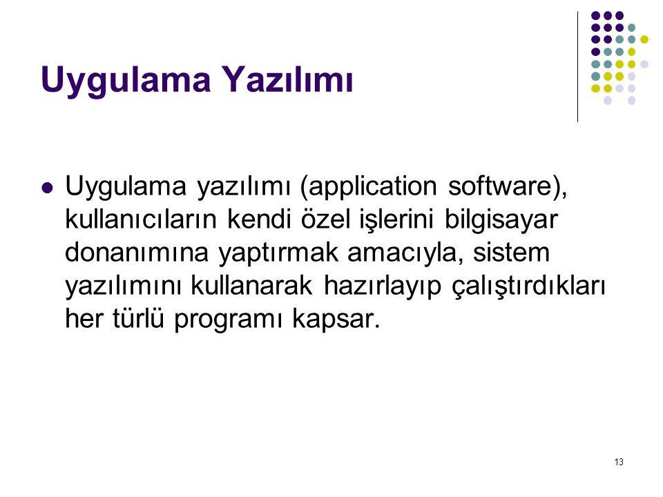 13 Uygulama Yazılımı  Uygulama yazılımı (application software), kullanıcıların kendi özel işlerini bilgisayar donanımına yaptırmak amacıyla, sistem yazılımını kullanarak hazırlayıp çalıştırdıkları her türlü programı kapsar.
