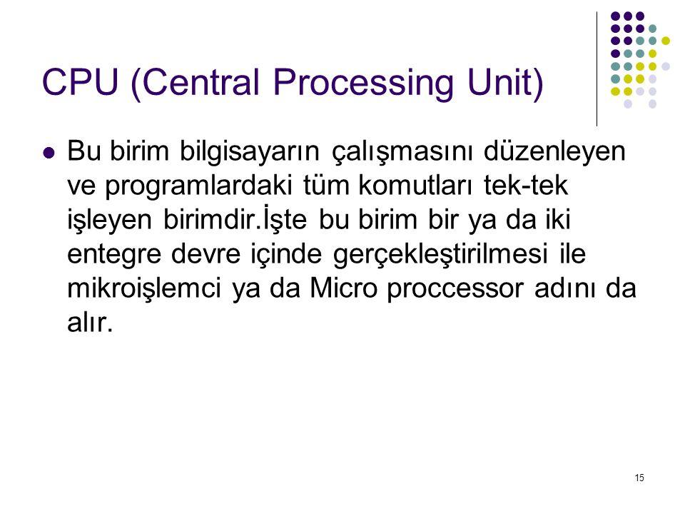 15 CPU (Central Processing Unit)  Bu birim bilgisayarın çalışmasını düzenleyen ve programlardaki tüm komutları tek-tek işleyen birimdir.İşte bu birim bir ya da iki entegre devre içinde gerçekleştirilmesi ile mikroişlemci ya da Micro proccessor adını da alır.