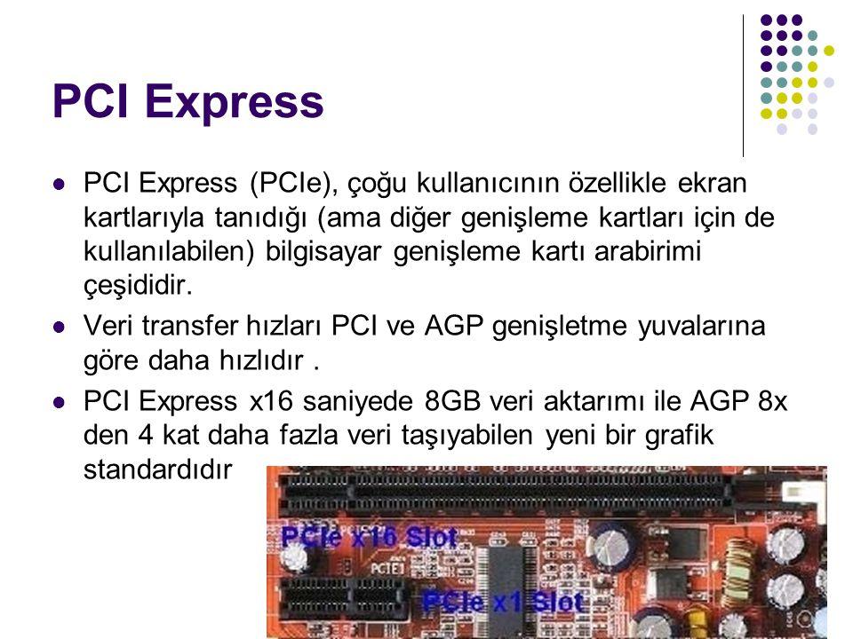 PCI Express  PCI Express (PCIe), çoğu kullanıcının özellikle ekran kartlarıyla tanıdığı (ama diğer genişleme kartları için de kullanılabilen) bilgisayar genişleme kartı arabirimi çeşididir.