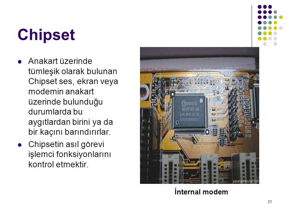 31 Chipset  Anakart üzerinde tümleşik olarak bulunan Chipset ses, ekran veya modemin anakart üzerinde bulunduğu durumlarda bu aygıtlardan birini ya da bir kaçını barındırırlar.