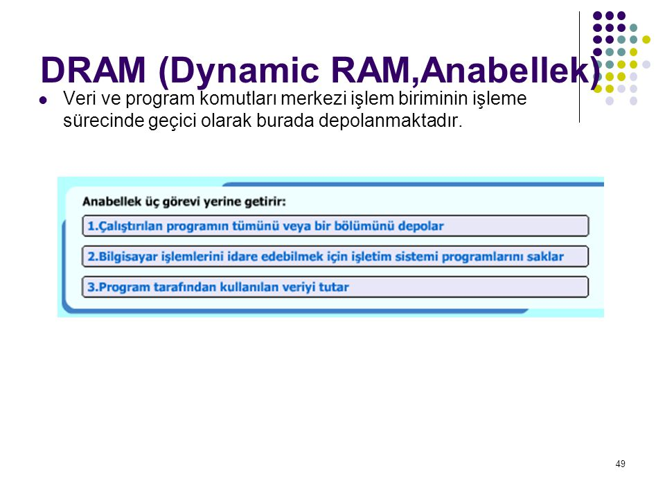 49  Veri ve program komutları merkezi işlem biriminin işleme sürecinde geçici olarak burada depolanmaktadır. DRAM (Dynamic RAM,Anabellek)