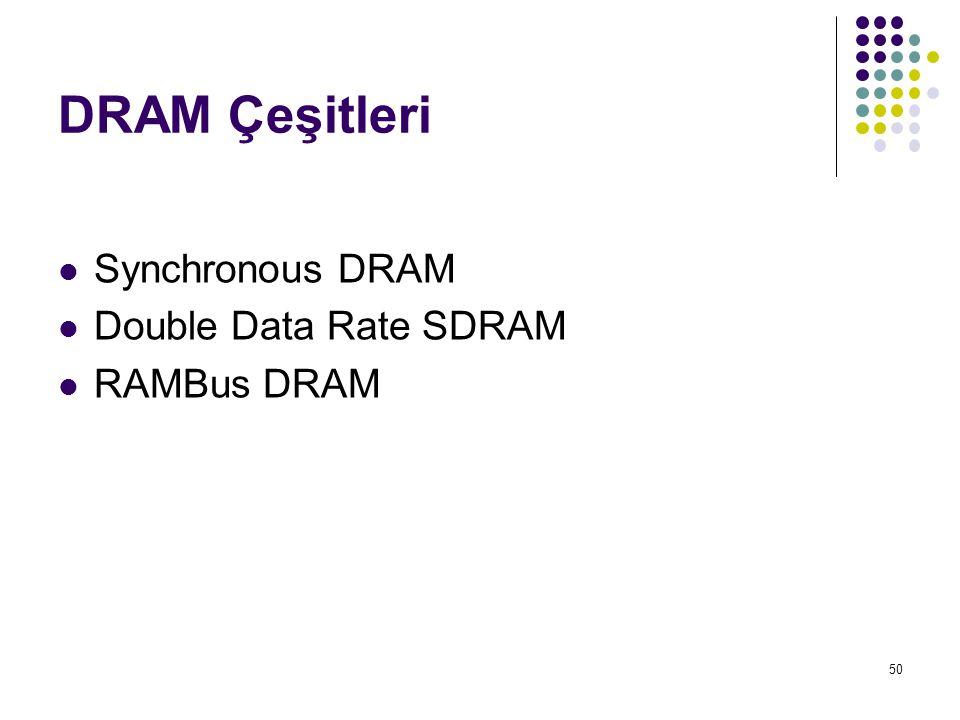 50 DRAM Çeşitleri  Synchronous DRAM  Double Data Rate SDRAM  RAMBus DRAM