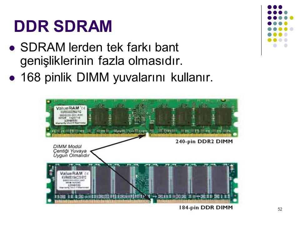 52 DDR SDRAM  SDRAM lerden tek farkı bant genişliklerinin fazla olmasıdır.  168 pinlik DIMM yuvalarını kullanır.