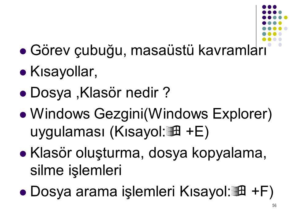  Görev çubuğu, masaüstü kavramları  Kısayollar,  Dosya,Klasör nedir ?  Windows Gezgini(Windows Explorer) uygulaması (Kısayol:  +E)  Klasör oluşt