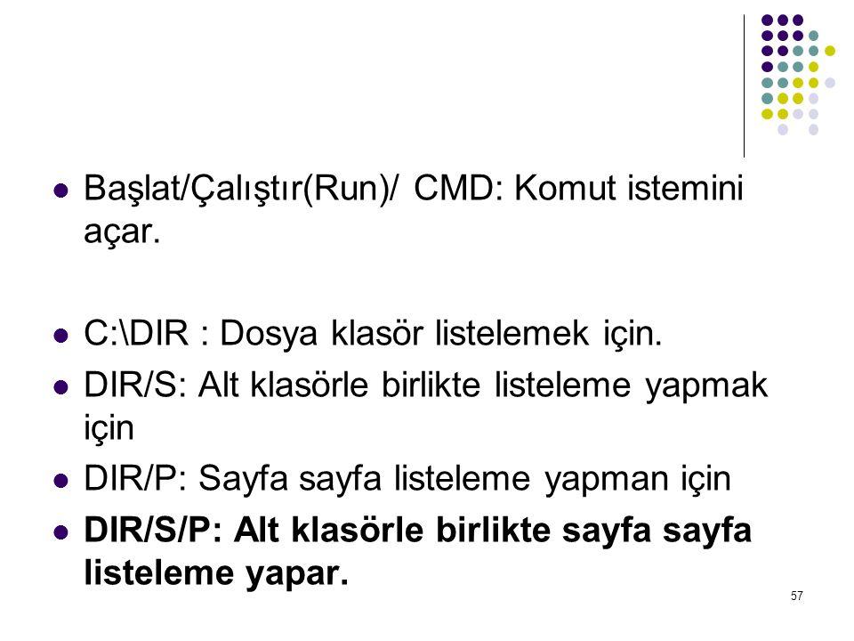  Başlat/Çalıştır(Run)/ CMD: Komut istemini açar.  C:\DIR : Dosya klasör listelemek için.  DIR/S: Alt klasörle birlikte listeleme yapmak için  DIR/