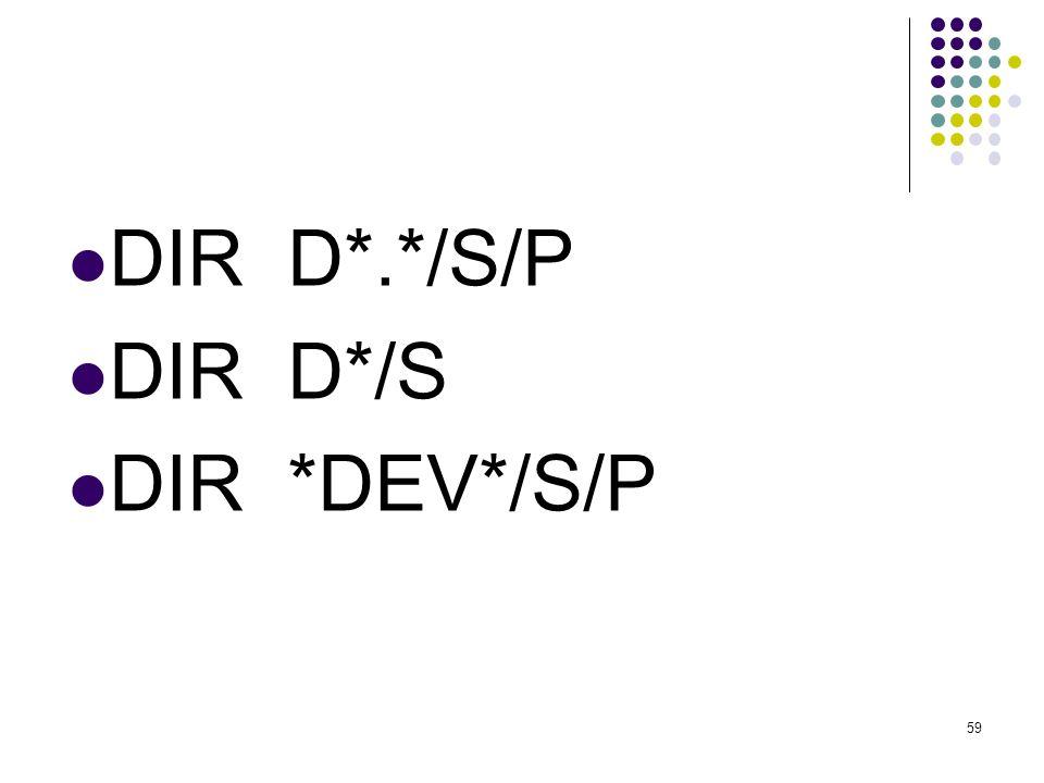  DIR D*.*/S/P  DIR D*/S  DIR *DEV*/S/P 59