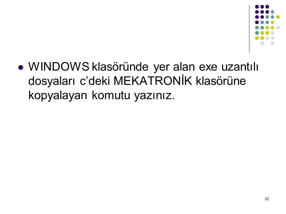  WINDOWS klasöründe yer alan exe uzantılı dosyaları c'deki MEKATRONİK klasörüne kopyalayan komutu yazınız. 60