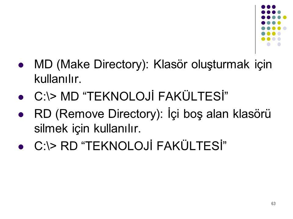 """ MD (Make Directory): Klasör oluşturmak için kullanılır.  C:\> MD """"TEKNOLOJİ FAKÜLTESİ""""  RD (Remove Directory): İçi boş alan klasörü silmek için ku"""