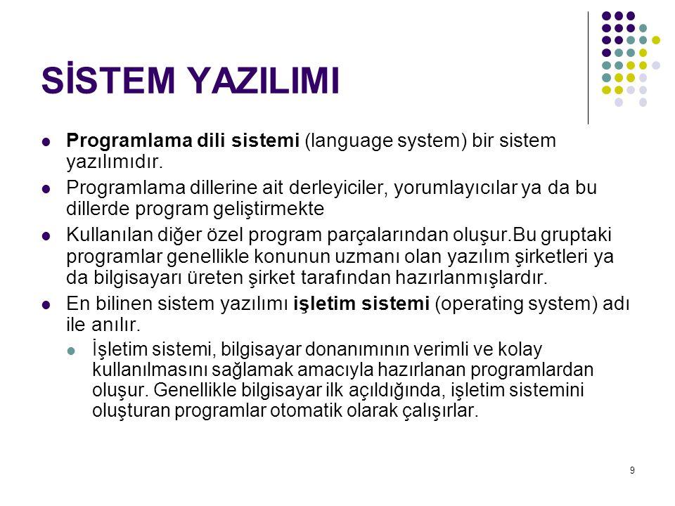 9 SİSTEM YAZILIMI  Programlama dili sistemi (language system) bir sistem yazılımıdır.  Programlama dillerine ait derleyiciler, yorumlayıcılar ya da