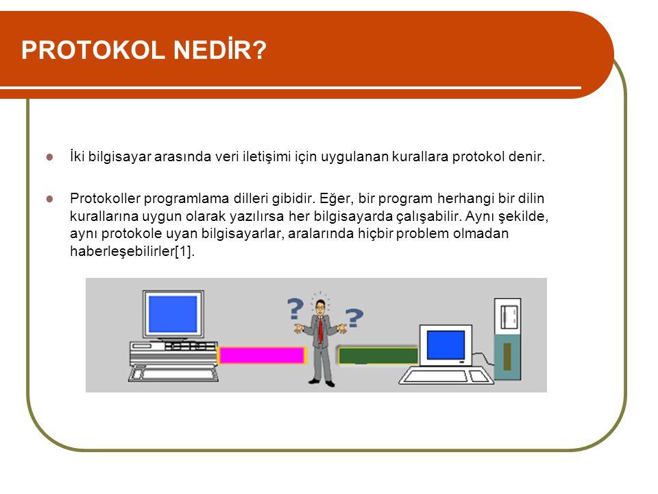 PROTOKOL NEDİR?  İki bilgisayar arasında veri iletişimi için uygulanan kurallara protokol denir.  Protokoller programlama dilleri gibidir. Eğer, bir
