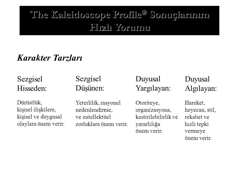 The Kaleidoscope Profile ® Sonuçlarınım Hızlı Yorumu Karakter Tarzları Sezgisel Hisseden: Dürüstlük, kişisel ilişkilere, kişisel ve duygusal olaylara