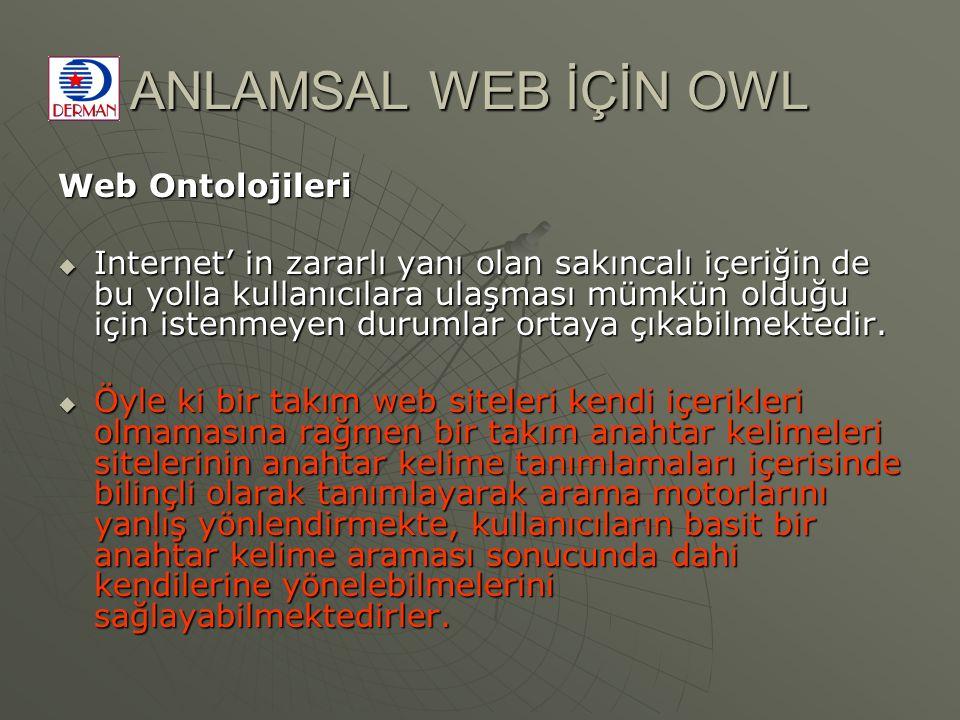 ANLAMSAL WEB İÇİN OWL Web Ontolojileri  Internet' in zararlı yanı olan sakıncalı içeriğin de bu yolla kullanıcılara ulaşması mümkün olduğu için istenmeyen durumlar ortaya çıkabilmektedir.