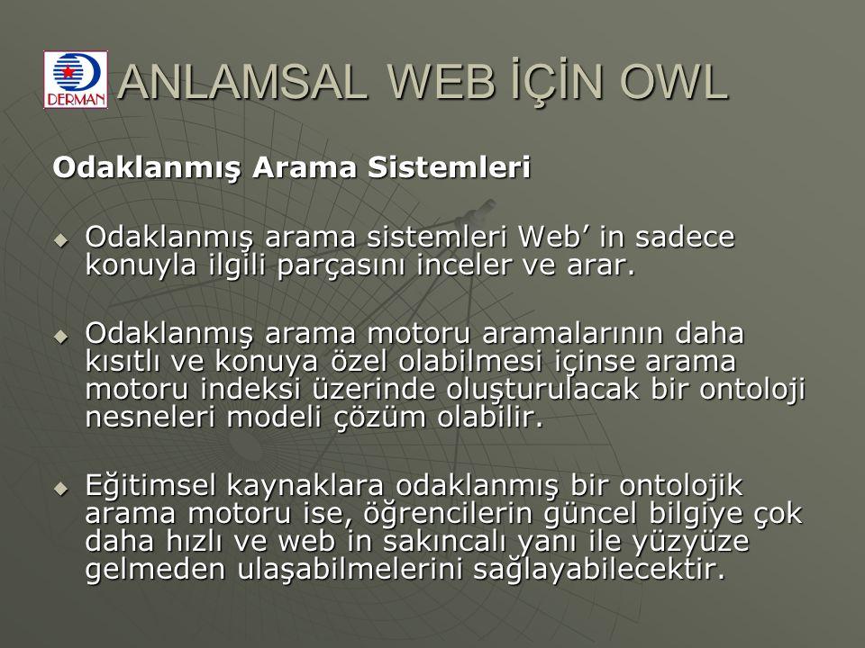 ANLAMSAL WEB İÇİN OWL Odaklanmış Arama Sistemleri  Odaklanmış arama sistemleri Web' in sadece konuyla ilgili parçasını inceler ve arar.  Odaklanmış