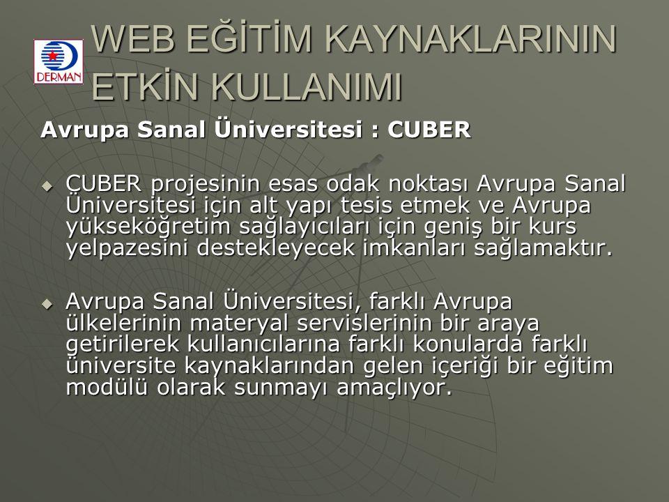 WEB EĞİTİM KAYNAKLARININ ETKİN KULLANIMI Avrupa Sanal Üniversitesi : CUBER  CUBER projesinin esas odak noktası Avrupa Sanal Üniversitesi için alt yapı tesis etmek ve Avrupa yükseköğretim sağlayıcıları için geniş bir kurs yelpazesini destekleyecek imkanları sağlamaktır.