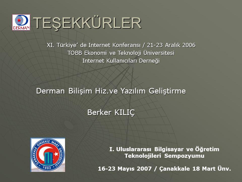TEŞEKKÜRLER Derman Bilişim Hiz.ve Yazılım Geliştirme Berker KILIÇ XI. Türkiye' de Internet Konferansı / 21-23 Aralık 2006 TOBB Ekonomi ve Teknoloji Ün