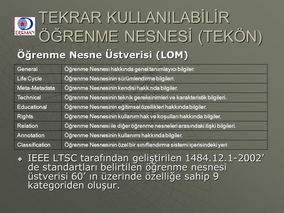 TEKRAR KULLANILABİLİR ÖĞRENME NESNESİ (TEKÖN)  IEEE LTSC tarafından geliştirilen 1484.12.1-2002' de standartları belirtilen öğrenme nesnesi üstverisi 60' ın üzerinde özelliğe sahip 9 kategoriden oluşur.