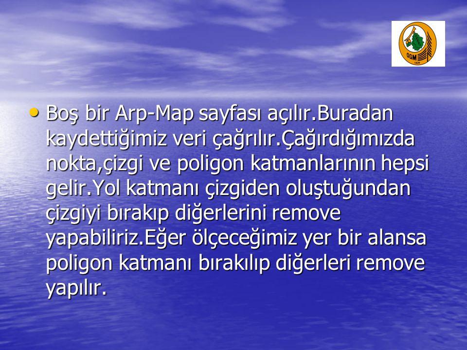• Boş bir Arp-Map sayfası açılır.Buradan kaydettiğimiz veri çağrılır.Çağırdığımızda nokta,çizgi ve poligon katmanlarının hepsi gelir.Yol katmanı çizgi