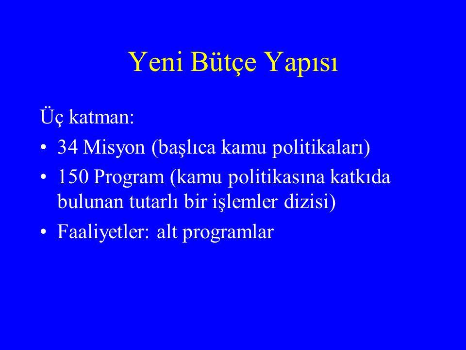 Yeni Bütçe Yapısı Üç katman: •34 Misyon (başlıca kamu politikaları) •150 Program (kamu politikasına katkıda bulunan tutarlı bir işlemler dizisi) •Faaliyetler: alt programlar