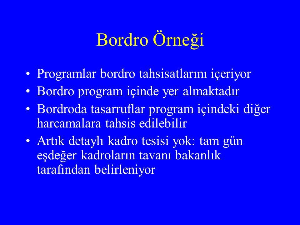 Bordro Örneği •Programlar bordro tahsisatlarını içeriyor •Bordro program içinde yer almaktadır •Bordroda tasarruflar program içindeki diğer harcamalara tahsis edilebilir •Artık detaylı kadro tesisi yok: tam gün eşdeğer kadroların tavanı bakanlık tarafından belirleniyor