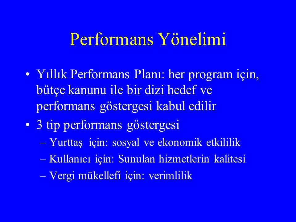 Performans Yönelimi •Yıllık Performans Planı: her program için, bütçe kanunu ile bir dizi hedef ve performans göstergesi kabul edilir •3 tip performans göstergesi –Yurttaş için: sosyal ve ekonomik etkililik –Kullanıcı için: Sunulan hizmetlerin kalitesi –Vergi mükellefi için: verimlilik