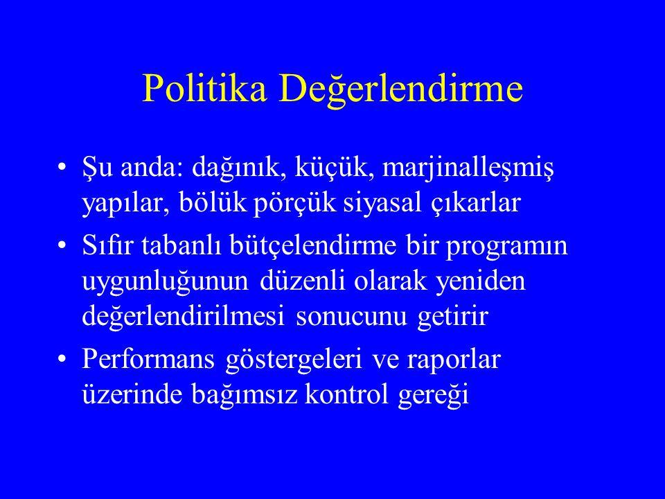 Politika Değerlendirme •Şu anda: dağınık, küçük, marjinalleşmiş yapılar, bölük pörçük siyasal çıkarlar •Sıfır tabanlı bütçelendirme bir programın uygu