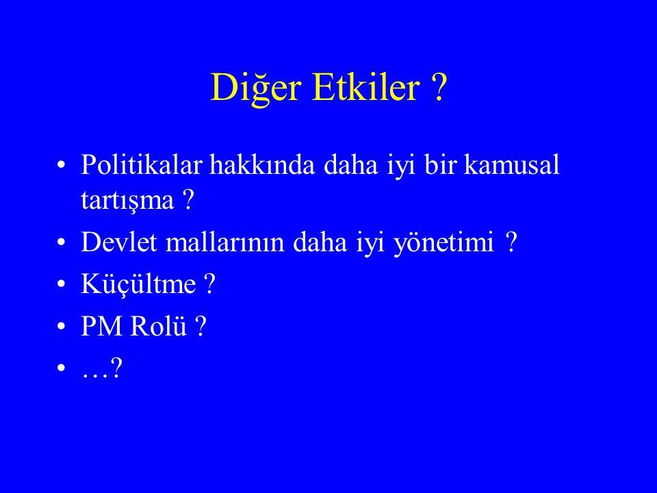 Diğer Etkiler ? •Politikalar hakkında daha iyi bir kamusal tartışma ? •Devlet mallarının daha iyi yönetimi ? •Küçültme ? •PM Rolü ? •…?