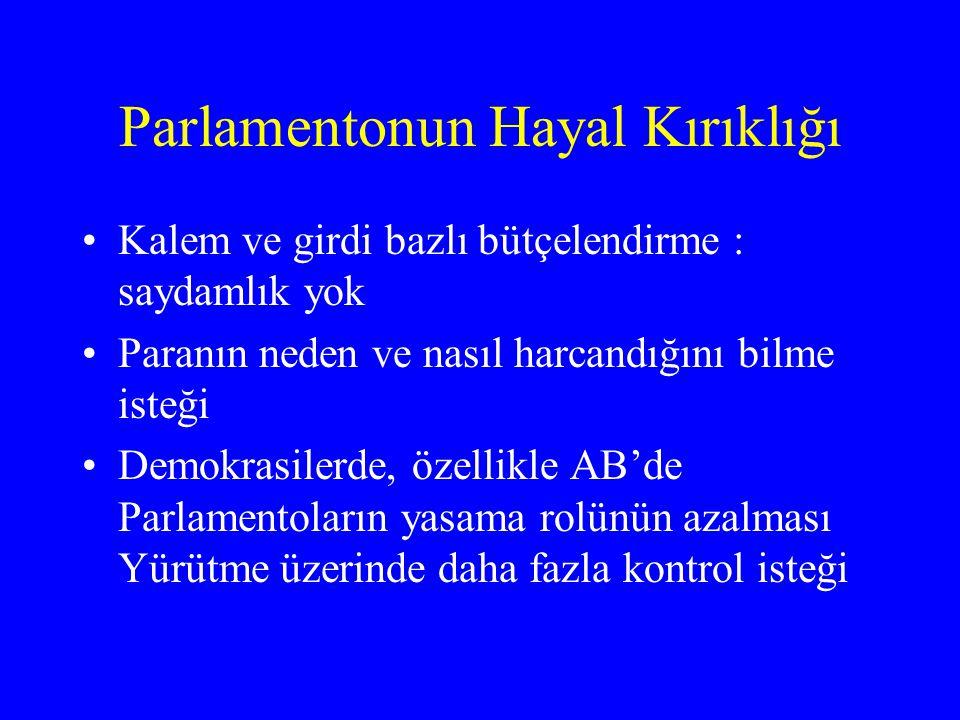 Parlamentonun Hayal Kırıklığı •Kalem ve girdi bazlı bütçelendirme : saydamlık yok •Paranın neden ve nasıl harcandığını bilme isteği •Demokrasilerde, ö