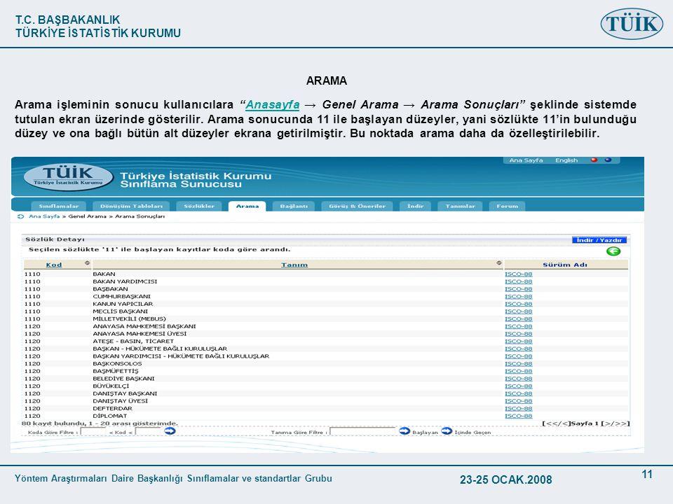 T.C. BAŞBAKANLIK TÜRKİYE İSTATİSTİK KURUMU Yöntem Araştırmaları Daire Başkanlığı Sınıflamalar ve standartlar Grubu 23-25 OCAK.2008 11 ARAMA Arama işle